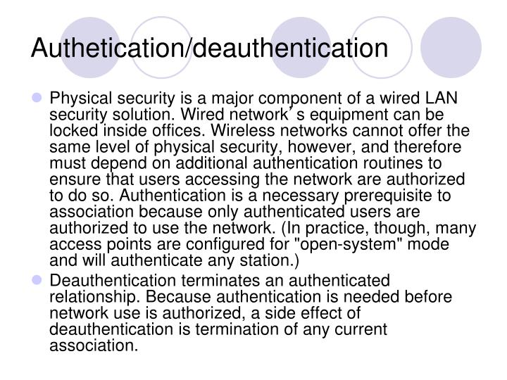 Authetication/deauthentication