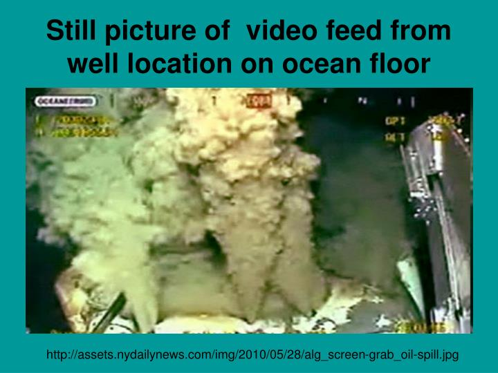 Still picture of  video feed from well location on ocean floor
