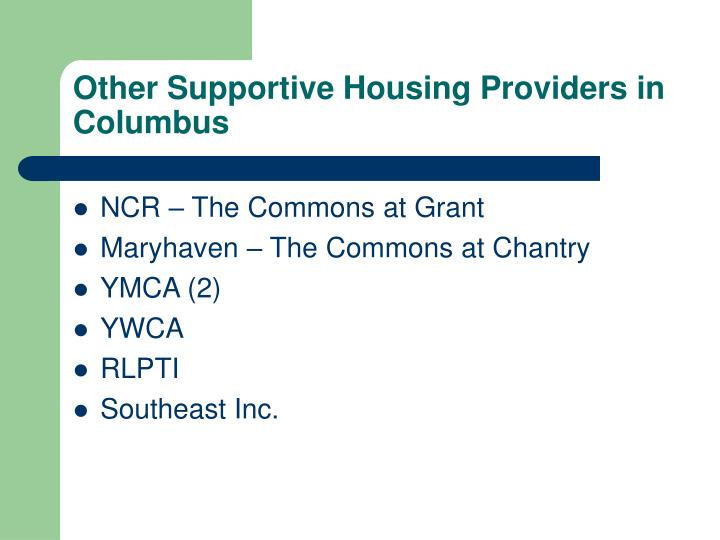 Other Supportive Housing Providers in Columbus