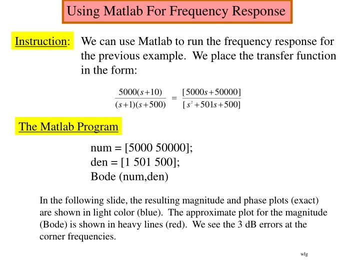 Using Matlab For Frequency Response