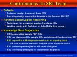 contributions to sri team