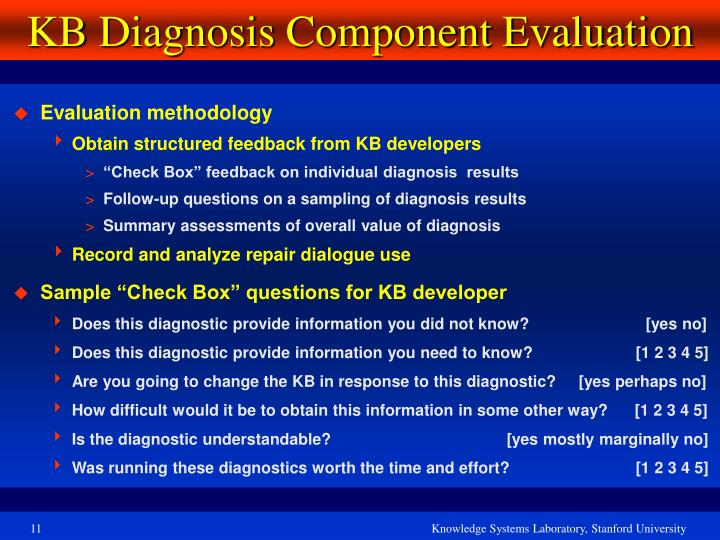 KB Diagnosis Component Evaluation
