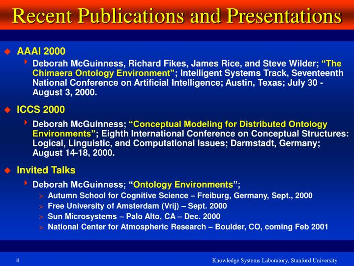 Recent Publications and Presentations
