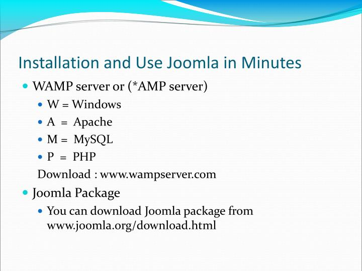 Installation and Use Joomla in Minutes