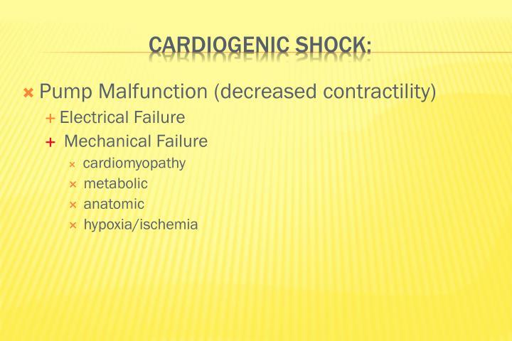 Pump Malfunction (decreased contractility)