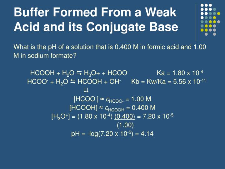 Buffer Formed From a Weak Acid and its Conjugate Base