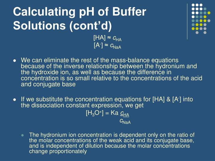 Calculating pH of Buffer Solutions (cont'd)