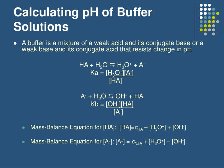Calculating pH of Buffer Solutions