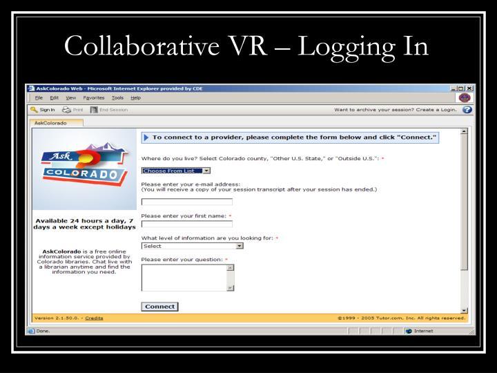Collaborative VR – Logging In