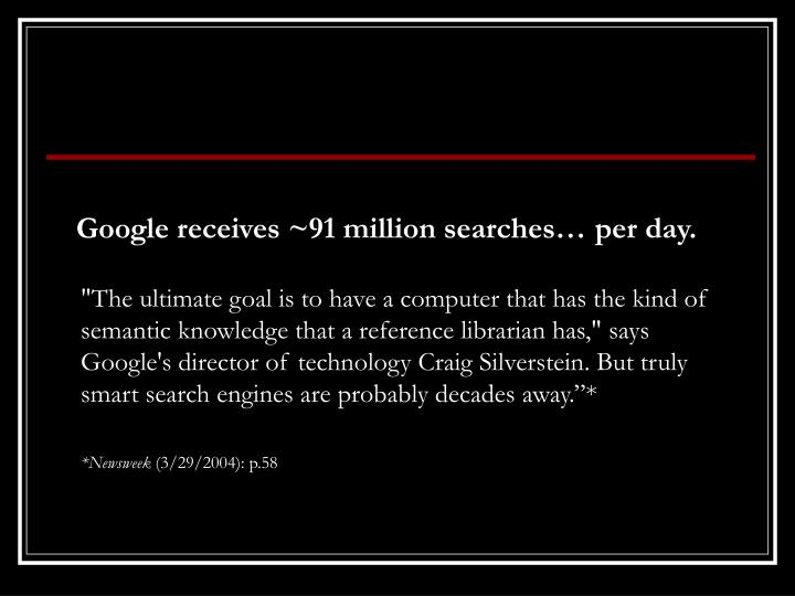 Google receives ~91 million searches…