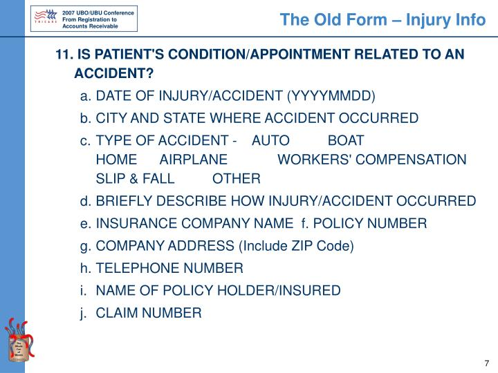 The Old Form – Injury Info