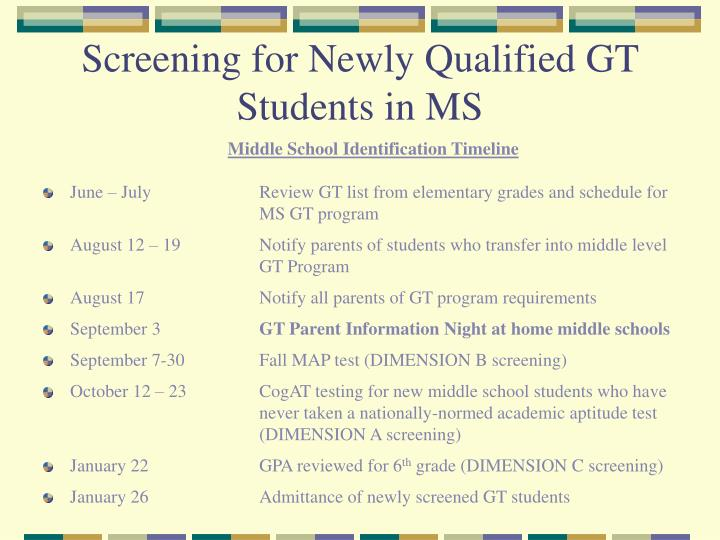 Screening for Newly Qualified GT Students in MS