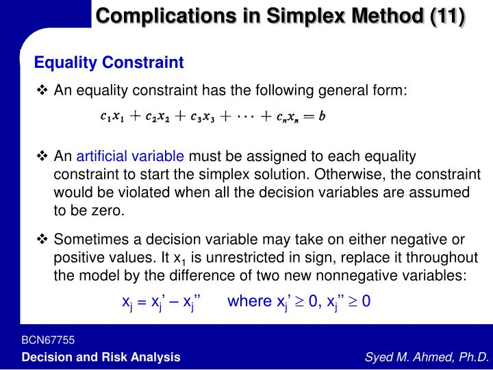 Complications in Simplex Method (11)