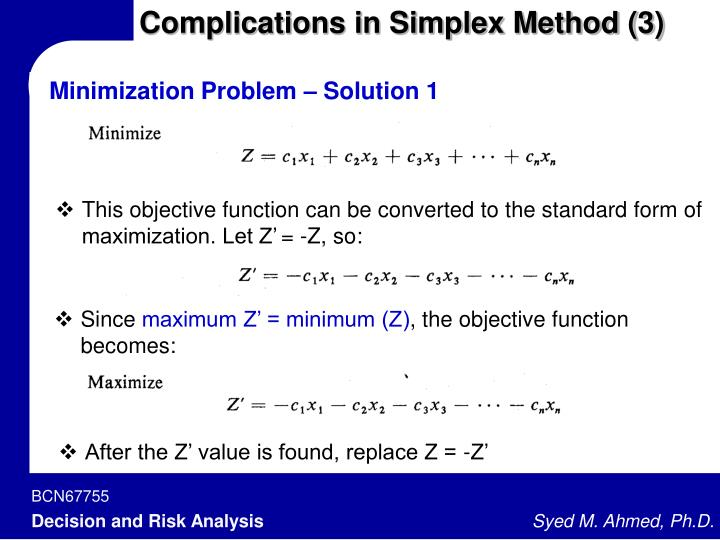 Complications in Simplex Method (3)