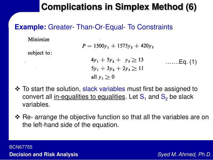 Complications in Simplex Method (6)