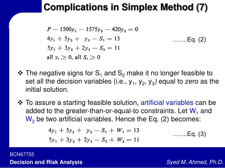 Complications in Simplex Method (7)
