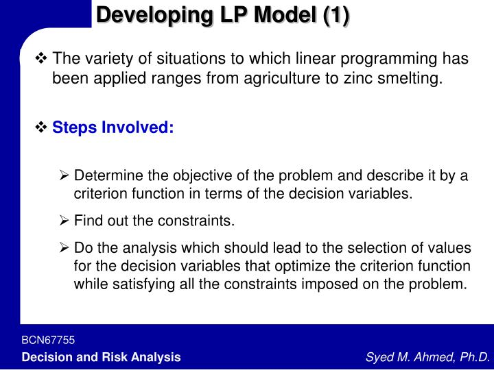 Developing LP Model (1)