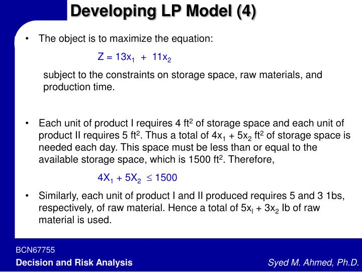 Developing LP Model (4)