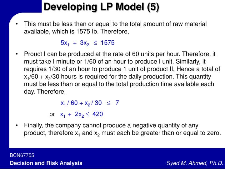 Developing LP Model (5)
