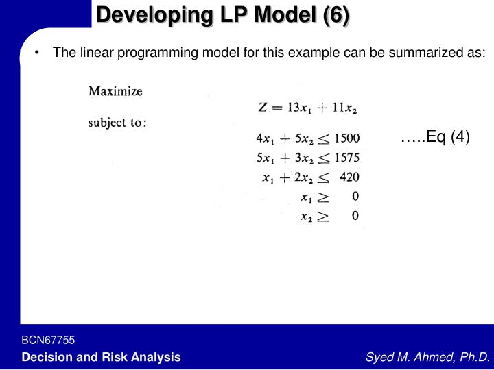 Developing LP Model (6)