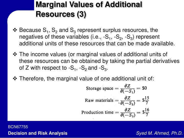 Marginal Values of Additional Resources (3)