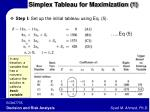 simplex tableau for maximization 1