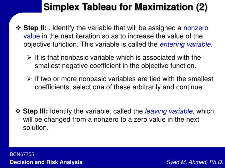 Simplex Tableau for Maximization (2)