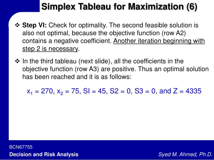 Simplex Tableau for Maximization (6)