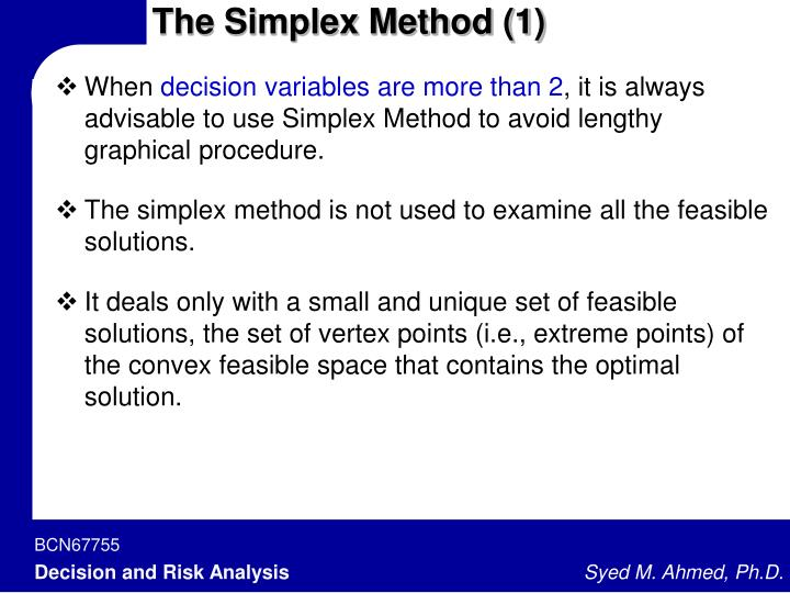 The Simplex Method (1)