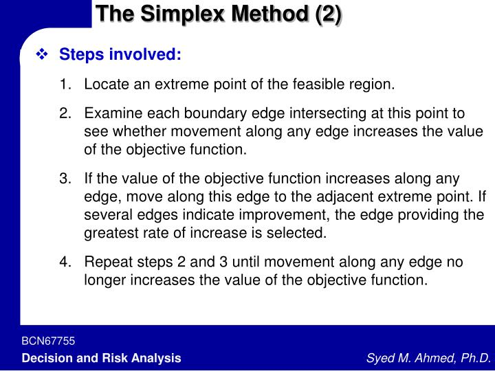 The Simplex Method (2)