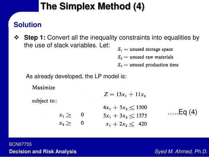 The Simplex Method (4)