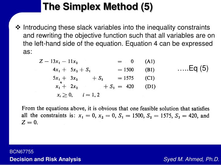 The Simplex Method (5)