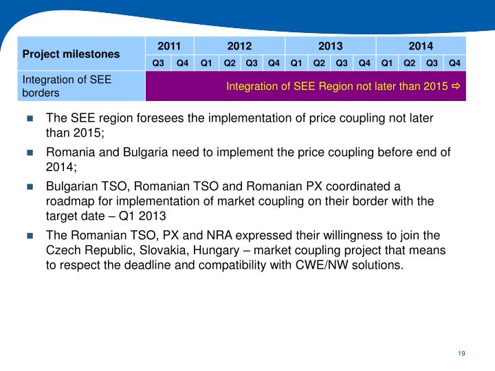 The SEE region foresees the implementation of price coupling not later than 2015;