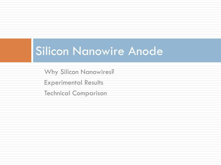 Silicon Nanowire Anode
