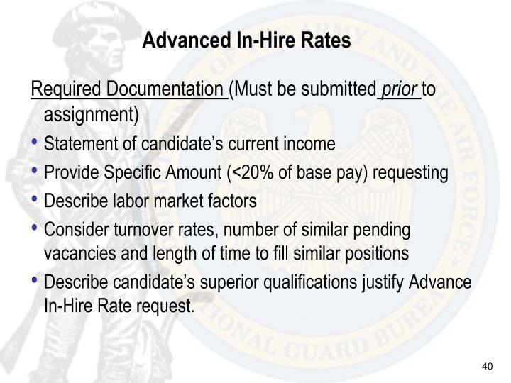 Advanced In-Hire Rates