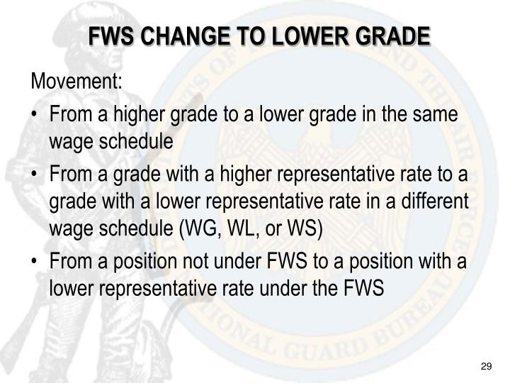 FWS CHANGE TO LOWER GRADE