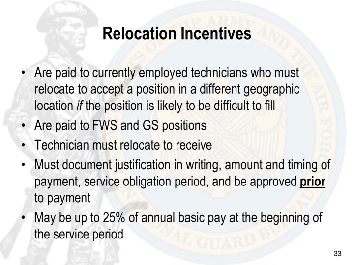 Relocation Incentives
