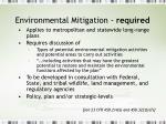 environmental mitigation required