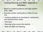 linking planning and nepa appendix a voluntary