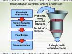 transportation decision making continuum