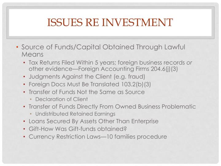 Issues Re Investment