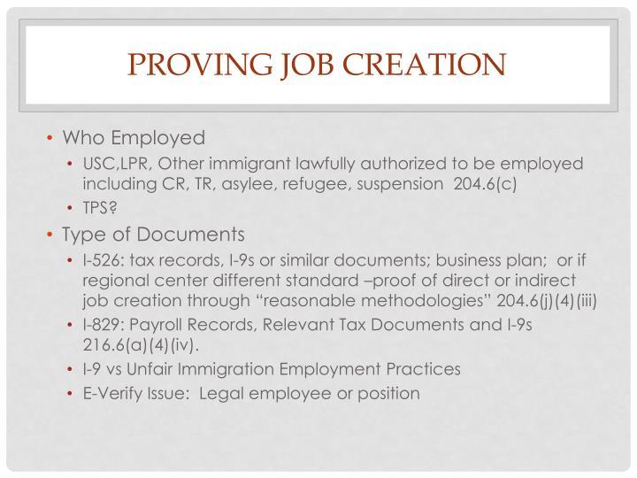 PROVING JOB CREATION
