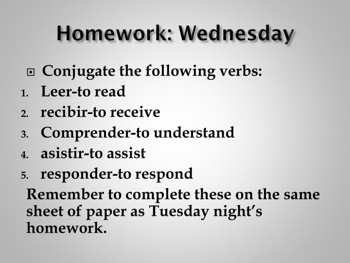 Homework: Wednesday