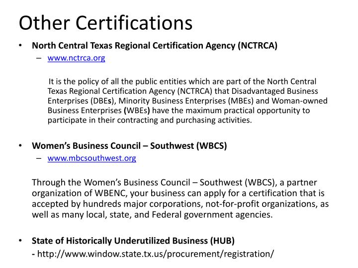 Other Certifications