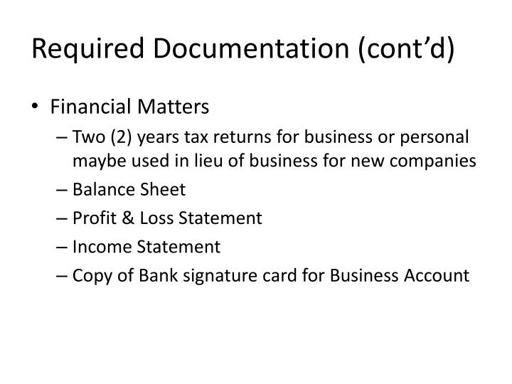 Required Documentation (cont'd)