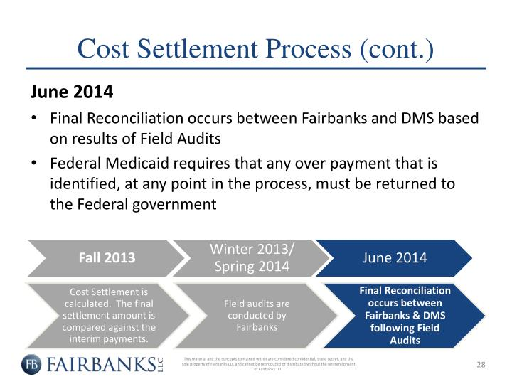 Cost Settlement Process (cont.)