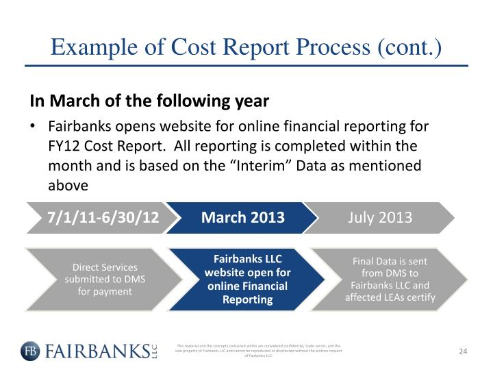 Example of Cost Report Process (cont.)