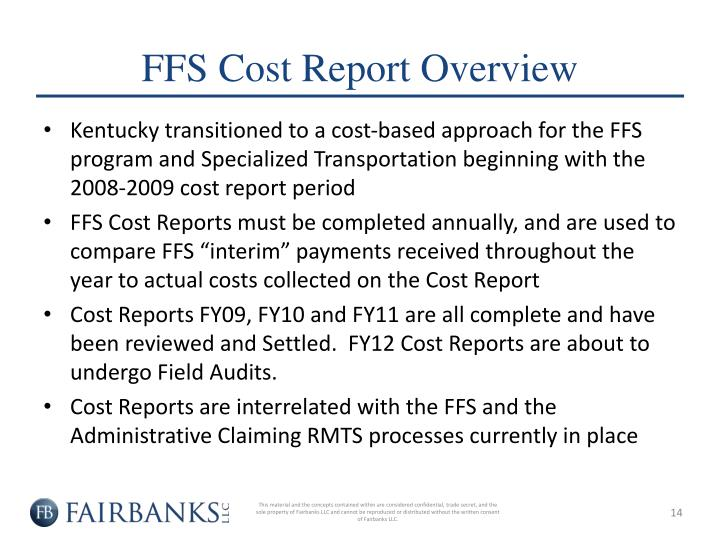 FFS Cost Report Overview