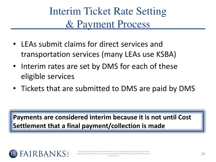 Interim Ticket Rate Setting