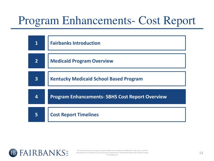 Program Enhancements- Cost Report